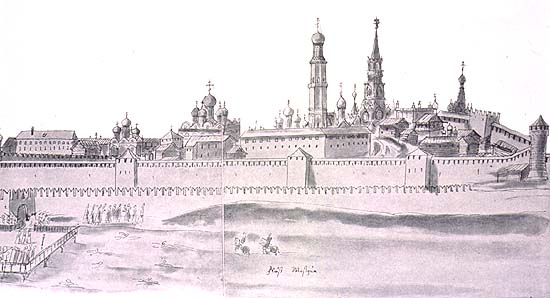 Moscow Kremlin Drawing View of Moscow Kremlin From