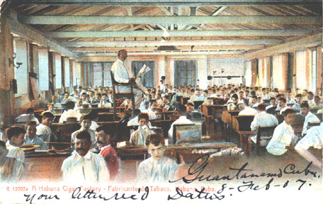 Habana Cigar Factory ca. 1907 with hired reader, el lector, reading the day's news to the cigar workers.