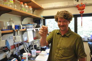 Greg Jongsma holding one of 36 precious tubes containing frog DNA ready for Illumina sequencing.