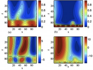 A numerical model of 2-layer circulation of a seawater layer over a brine layer developed by my former postdoc Fabrice Fontaine showing (top) temperature and (bottom) streamlines for two bottom layer thicknesses.  In the end we concluded that two layer systems were unlikely because the brine would not convect.