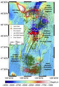 Locations of >10,000 earthquakes on the Endeavour segment of the Juan de Fuca Ridge from the work of Robert Weekly